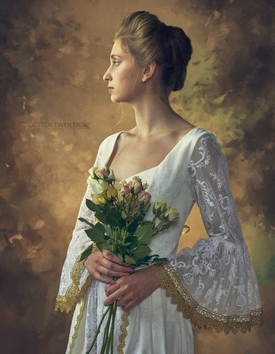 Cece wearing white dress holding roses_SED7740