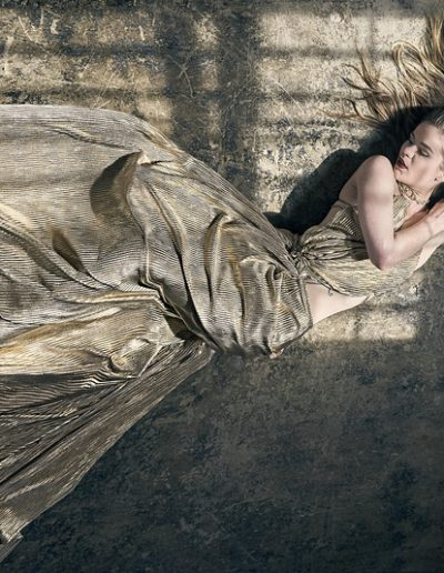 Haley in gold dress on floor_SED9305
